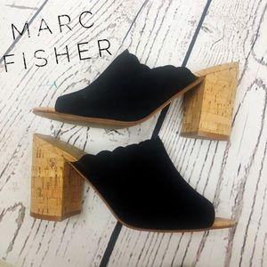 Marc Fisher Black Scalloped Block Heels